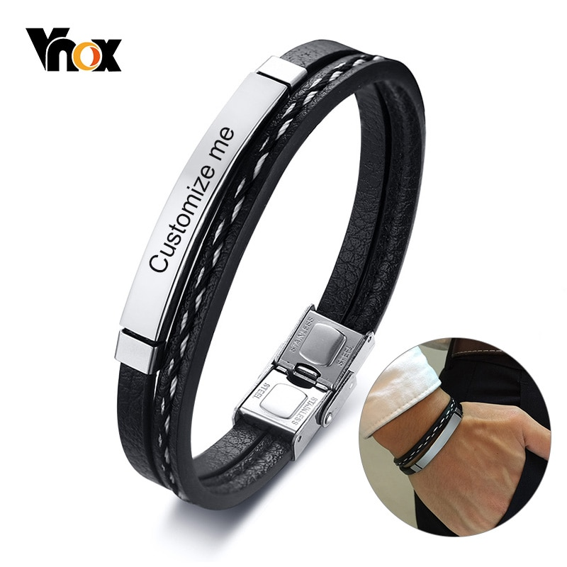 Vnox Multi Layer Leather Bracelets for Men Women Customizable Engraving Stainless Steel Casual Perso
