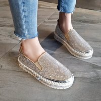 Women Flats Crystal Ladies Glitter Bling Loafers Flat Platform Fashion Woman Spring Casual Moccasins Female Shoes 2020