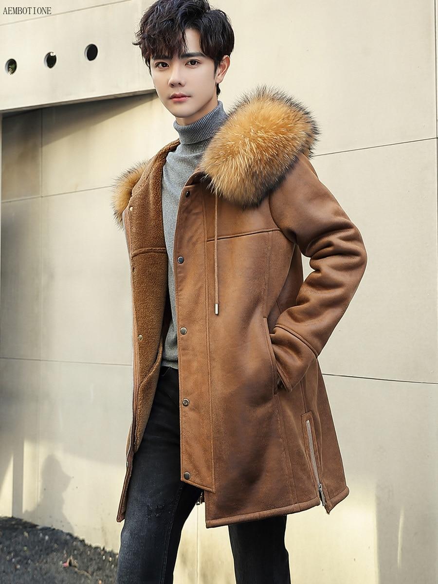 Chamois Long New Coat Men's Raccoon Collar Men Leather Jacket Wool Liner Fur Outerwear Mens Winter Shearling Coats