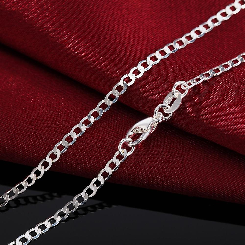 Новый-925-Серебряное-ожерелье-16-18-20-22-24-26-28-30-дюймов-классические-2-мм-плоский-Боком-цепи-для-мужчин-и-женщин-ювелирное-изделие-подарок-Вечерн