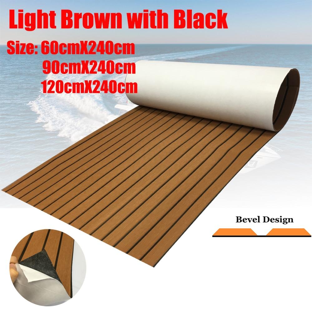 Espuma EVA, hoja de cubierta de piso de bote, luz marrón, yate, alfombra marina, alfombrilla de suelo antideslizante, autoadhesiva, cubierta de mar, accesorios de barco
