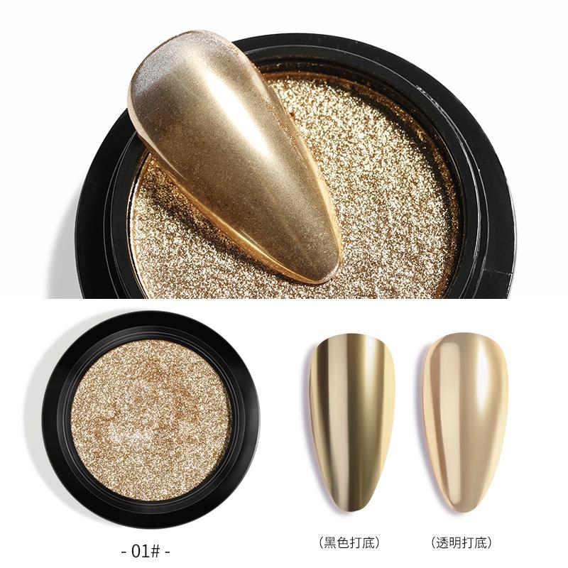1Box Nail Mirror Glitter Powder Metallic Dust  Magic Effect Rose Gold Silver Nails Decorations DIY Manicure