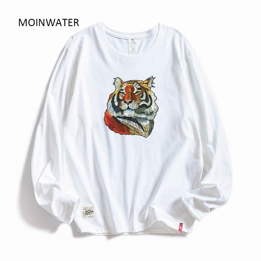 MOINWATER mujeres Casual Cartoon Tiger Print camisetas de manga larga señora algodón negro moda camisetas femeninas blancas camiseta MLT2002