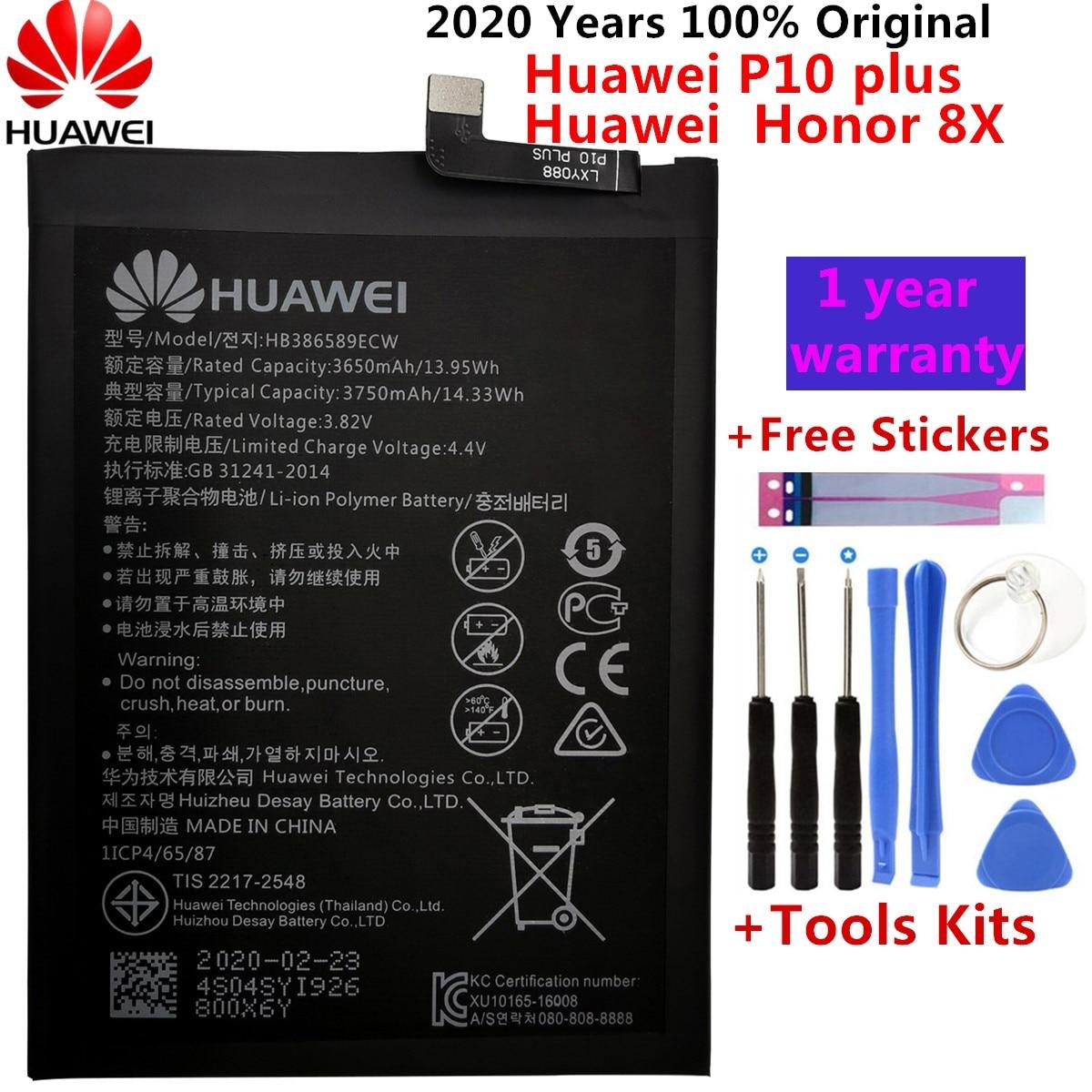 Original pour Huawei Honor 8X batterie HB386589ECW 3750mAh pleine capacité pour Huawei View 10 Lite batterie de remplacement + outils gratuits