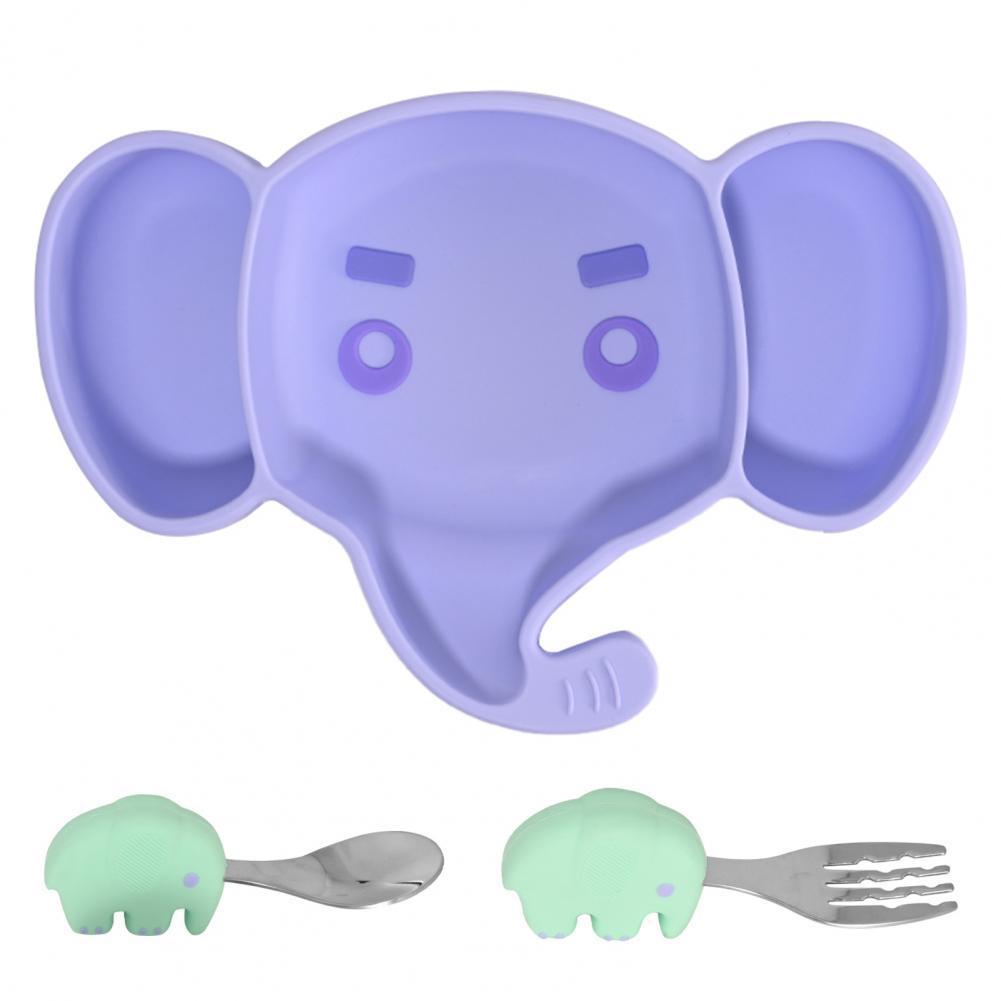 3 шт./компл. детская посуда с изображением слона из мультфильма, дизайнерская силиконовая детская тарелка, ложка, вилка, набор для малышей