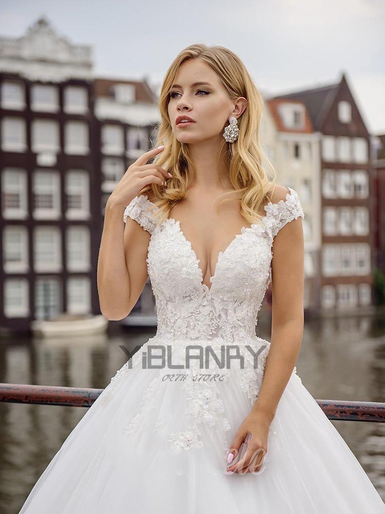 A Line Wedding Dresses One Shoulder Wedding Bridal Gowns Flowers Crystal vestido de noiva wedding guest