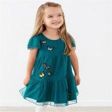 Saut mètres appliques filles robes coton licorne impression Tutu rayure princesse robe de fête danniversaire pour lété enfants vêtements