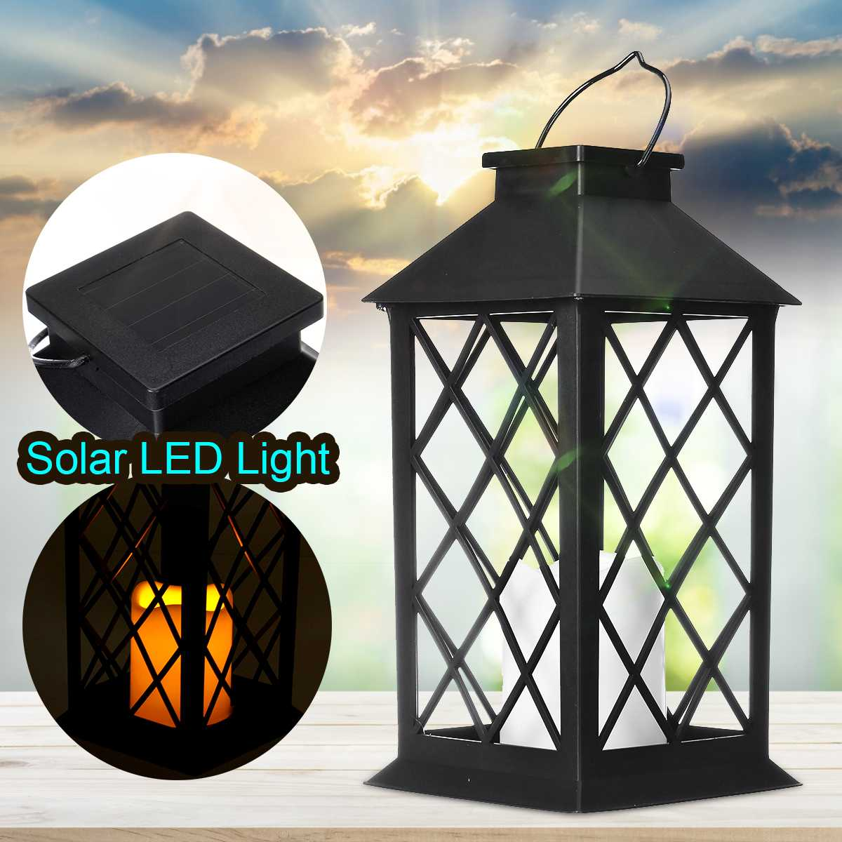 IPX67 Waterproof Solar Powered LED Lantern Hanging Outdoor LED Light With Battery Base For Garden Decoration Lawn solar Lamp