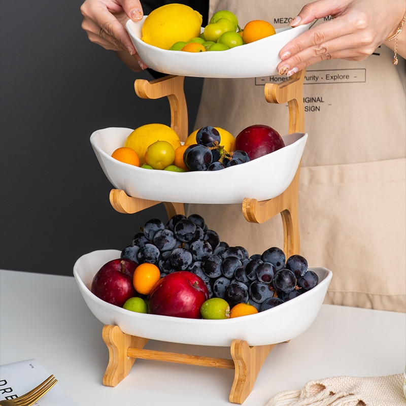 Ceramic Candy Dish Living Room Home Ceramic Plate Three-layer Fruit Plate Snack Plate Creative Modern Dried Fruit Fruit Basket