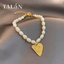 Taran Fresh Freshwater Pearl Bracelet Golden Heart Pendant Bracelet for Women Graceful Online Influe