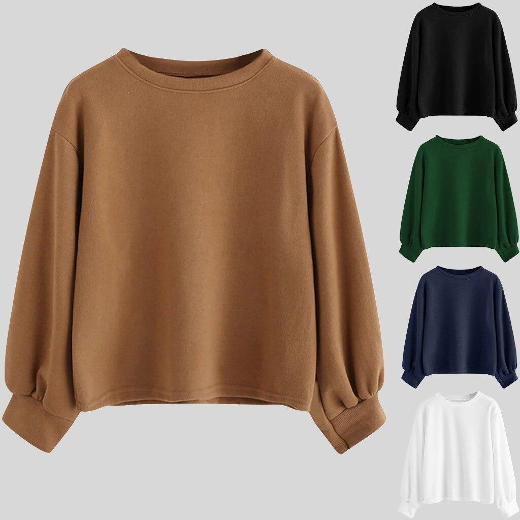 Moda mujer sudaderas con capucha Casual cuello redondo sólido manga larga blusa suéter suelto blusa femenina caliente invierno blusa M840 #