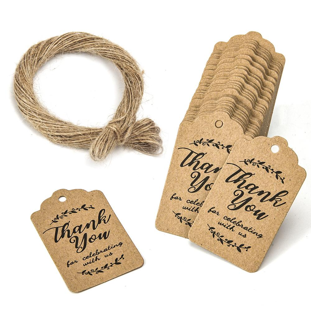 100pcs obrigado etiquetas de papel para Comemorar com A Gente 3*5 centímetros decoração de casamento Embalagem Pendure tag do presente papelaria Tags rótulos