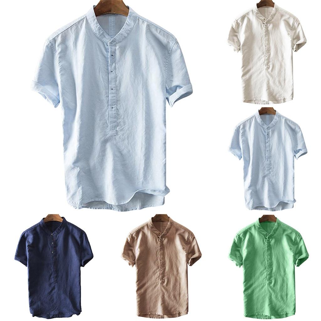 Европейские и американские модные рубашки, мужские льняные рубашки, летние повседневные рубашки из хлопка и льна с коротким рукавом