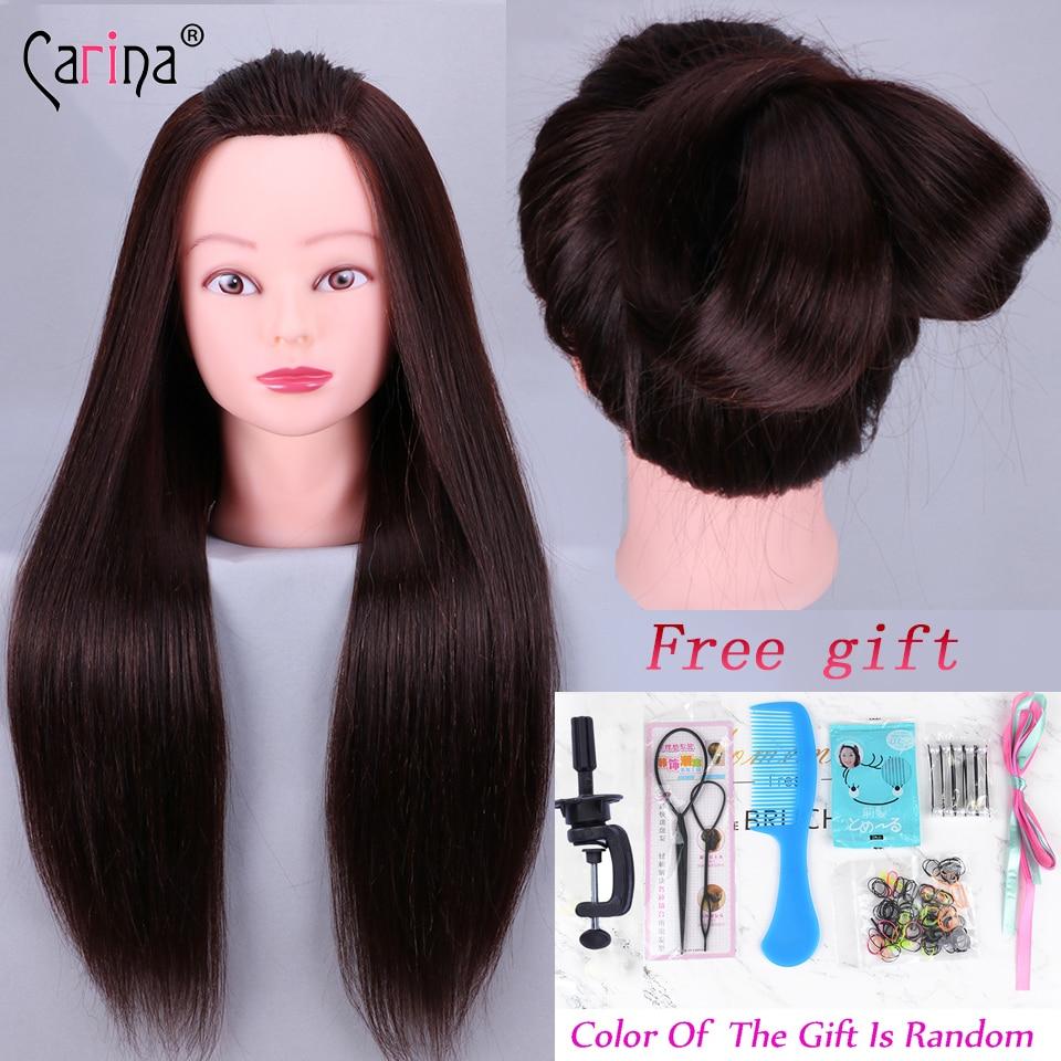 Maniquí de cabeza de entrenamiento de pelo sintético de 55cm para peinados, cabeza de peluquería con muñeca de pelo, cabeza de maniquí femenina en venta, maniquí
