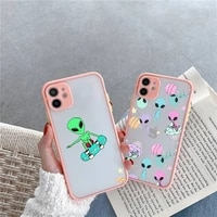 alien space phone case pink matte transparent for iphone 7 8 x xs xr 11 12 pro plus max mini clear funda