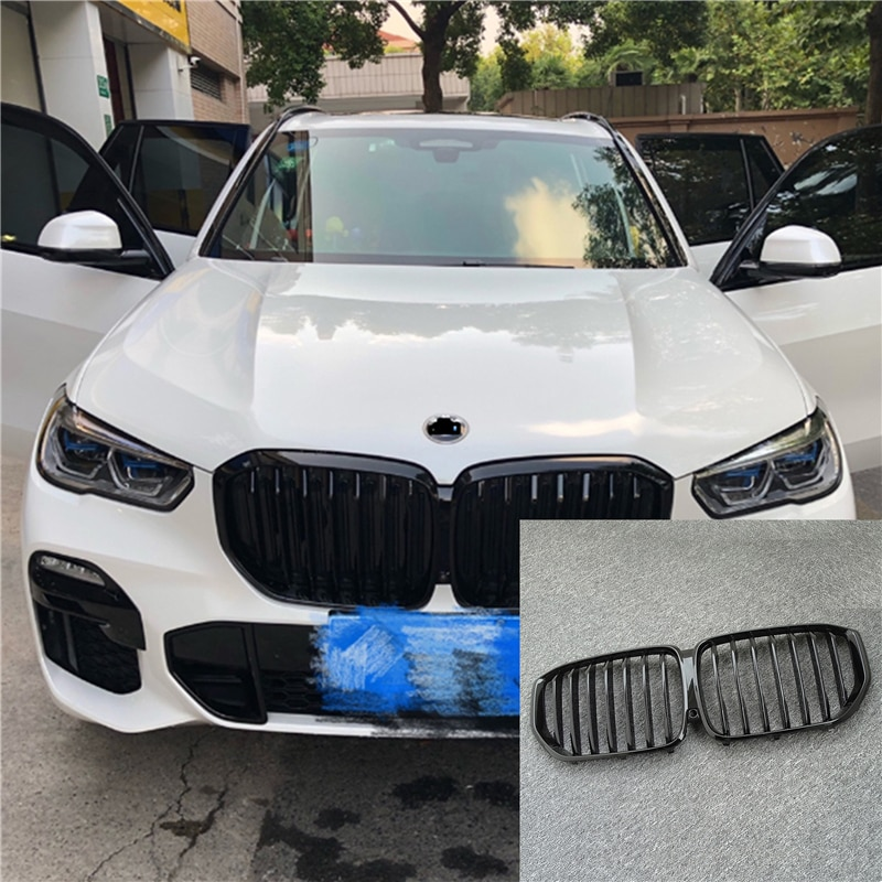1 pair new design f90 m5 diamonds grille grill meteor style abs gloss black fits for bmw m5 look f90 front kidney grills 2019 in 1Pair Gloss/Matte Black Front Kidney Grille for BMW New X5/G05 2020 Grille Car Style Refit Bumper Slat Double Line Racing Grills