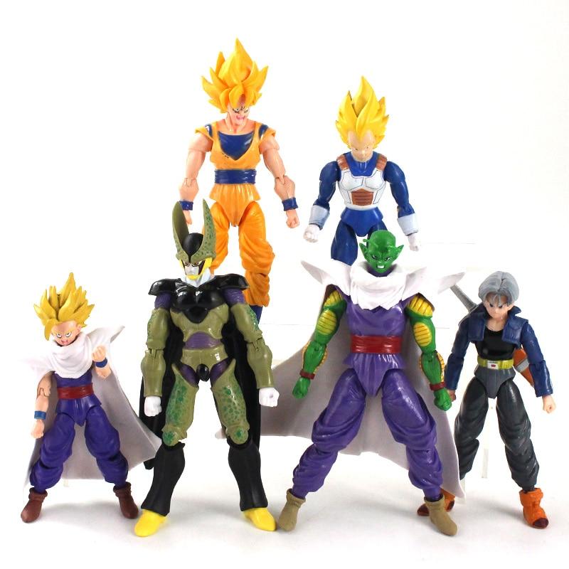 12-18cm 6 teile/los Dragon Ball Z Figur Sohn Goku Gohan Vegeta Piccolo Trunks PVC Action Figure Spielzeug gemeinsame Bewegliche Modell Puppen