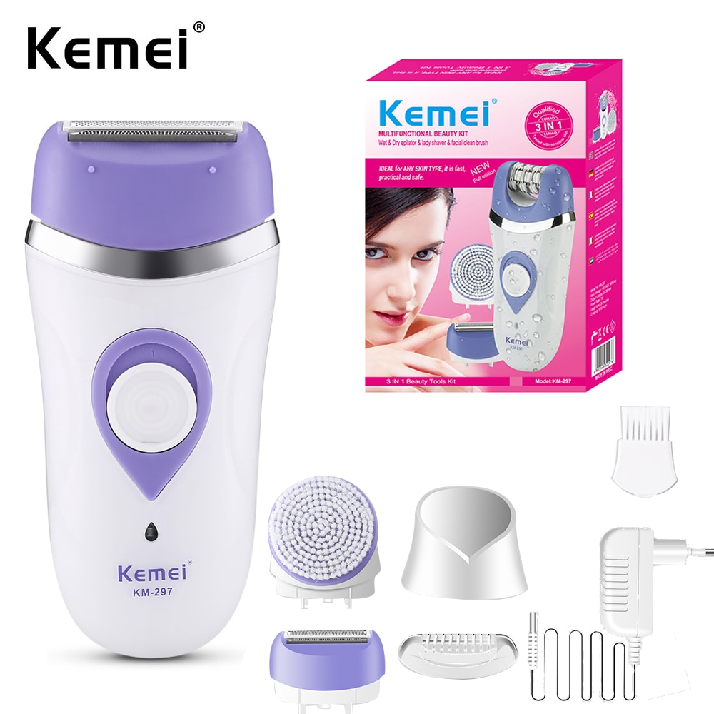 Kemei الكهربائية لنزع الشعر KM-297 سيدة ماكينة حلاقة مقص الشعر متعددة الوظائف سيدة الحلاقة ماكينة حلاقة الوجه فرشاة نظيفة 3in 1 قابلة للشحن