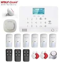Wolf-Guard     Kit systeme dalarme de securite domestique sans fil  ecran LCD  GSM  SMS  anti-cambriolage  avec detecteur PIR  sirene  porte-cles et RFID