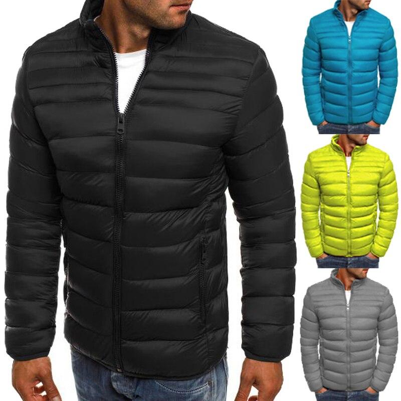 Chaqueta ZOGAA, Parkas de alta calidad para hombre, prendas de vestir de algodón abrigadas para invierno, abrigo liso delgado con cuello levantado para hombre, chaquetas cortavientos casuales 3XL