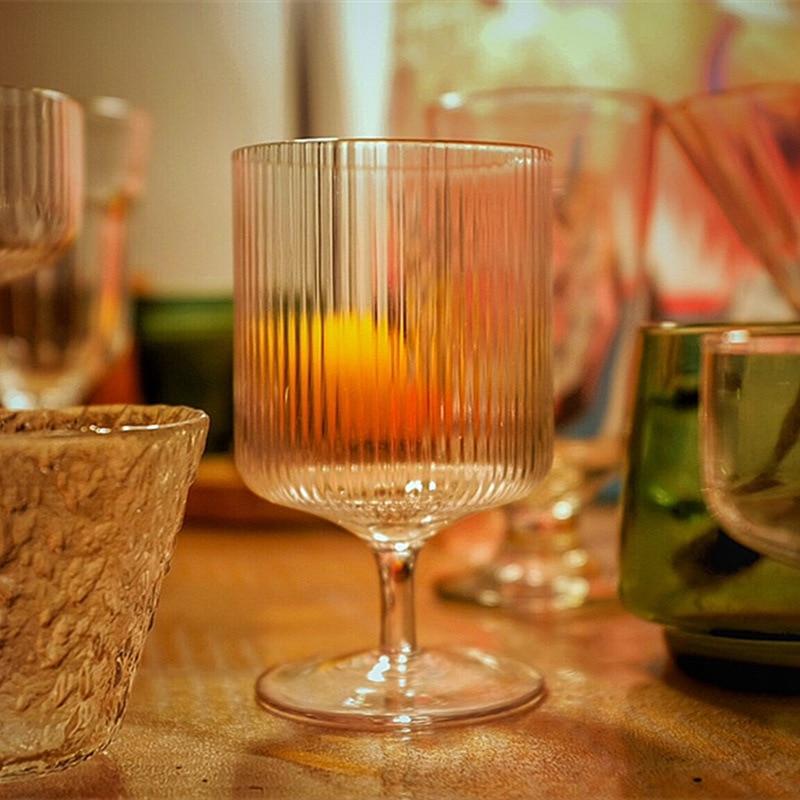 Vela de cera de vidrio con copa alta de hielo a rayas para hacer tarros, suministros de moldes, velas, fabricación de velas
