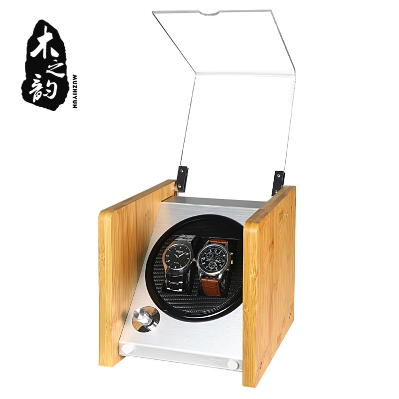 Double Watch Winders Wooden Acrylic Window Black Carbon Fiber Quiet Motor Storage Display Watches Box  PU Leather LED Light