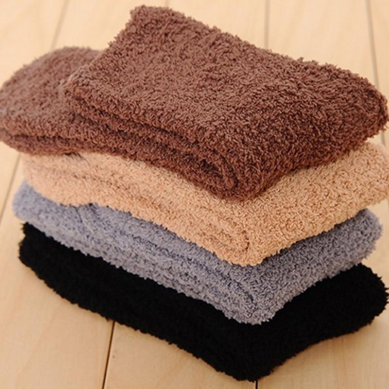 Мужские утепленные носки, модные зимние теплые коралловые флисовые пушистые однотонные носки для сна, мужские носки для кровати, носки