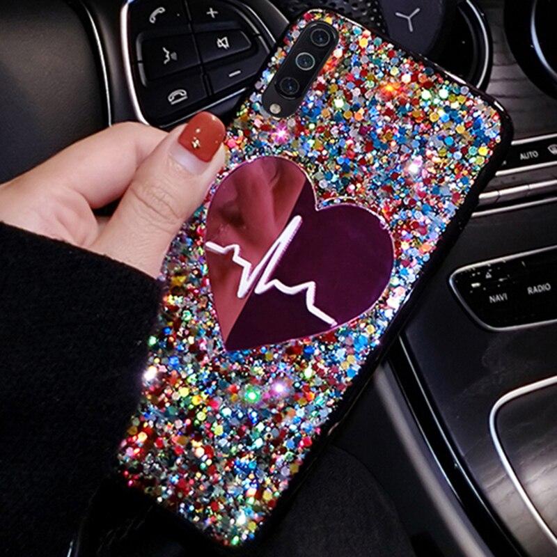 Lentejuelas gran amor funda para Samsung Galaxy A51 A71 A81 A91 A20S A10S S20 caso S20 Ultra SM A515F A717F 51 71 cubierta