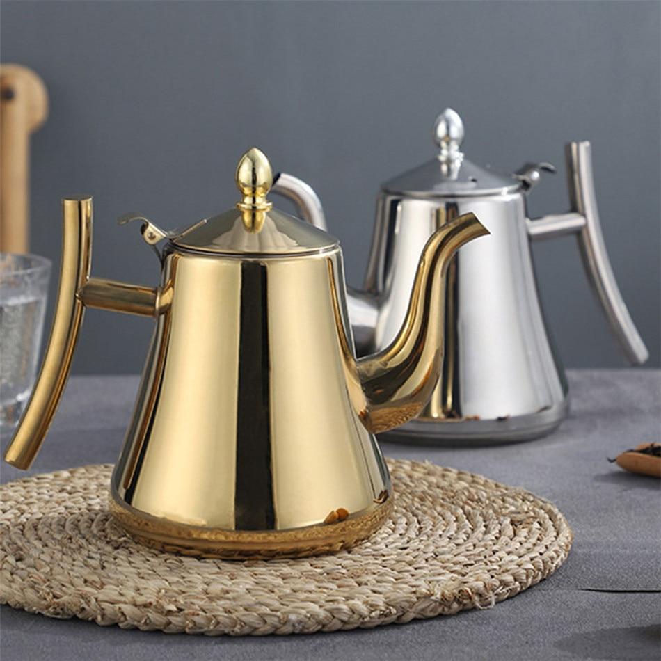 Tetera de acero inoxidable grueso de 1000/1500ml tetera dorada plateada con infusor tetera de café Cocina de Inducción tetera hervidor de agua