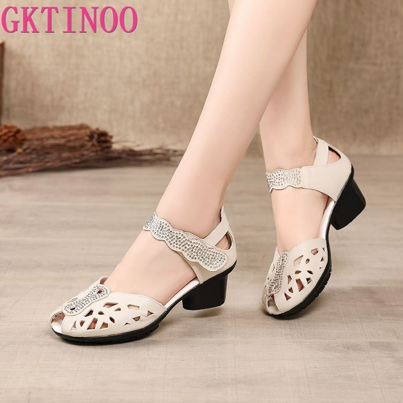 GKTINOO 2021 Summer Genuine Leather Shoes Gladiator Sandals Women 5cm High Heels Classic Black Peep Toe Hollow Ladies Sandals
