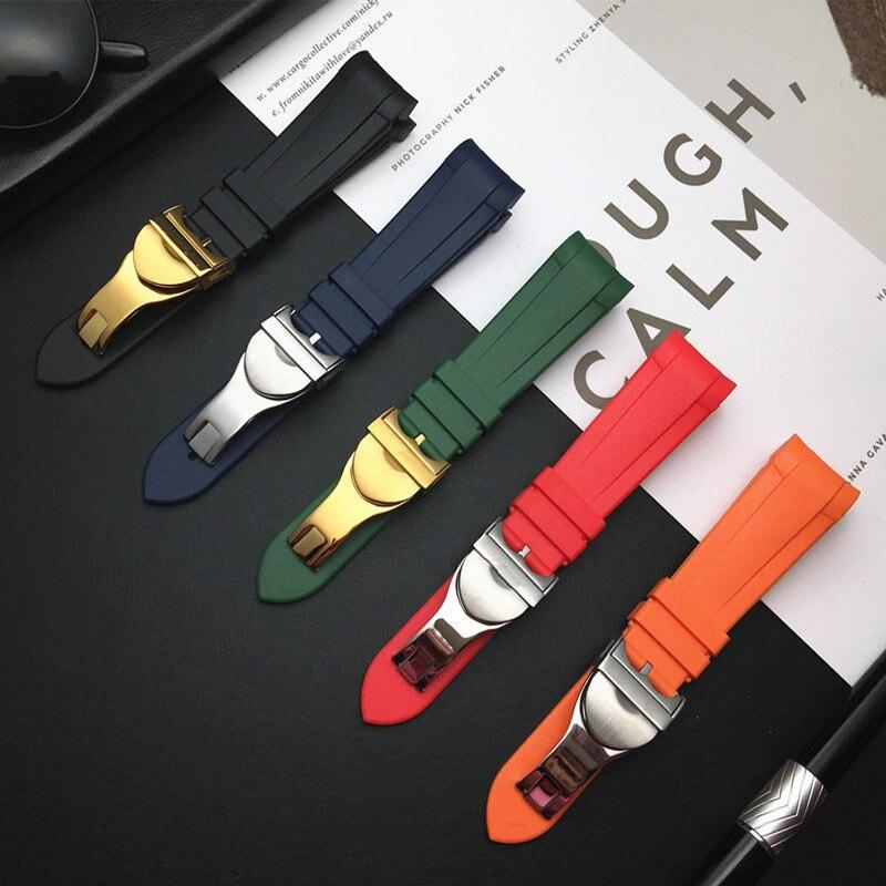 Extremo curvado 22mm nuevo estilo de goma silicona correa de reloj azul o naranja rojo verde correa de reloj ajuste para Tudor Correa negro Bay Series herramientas