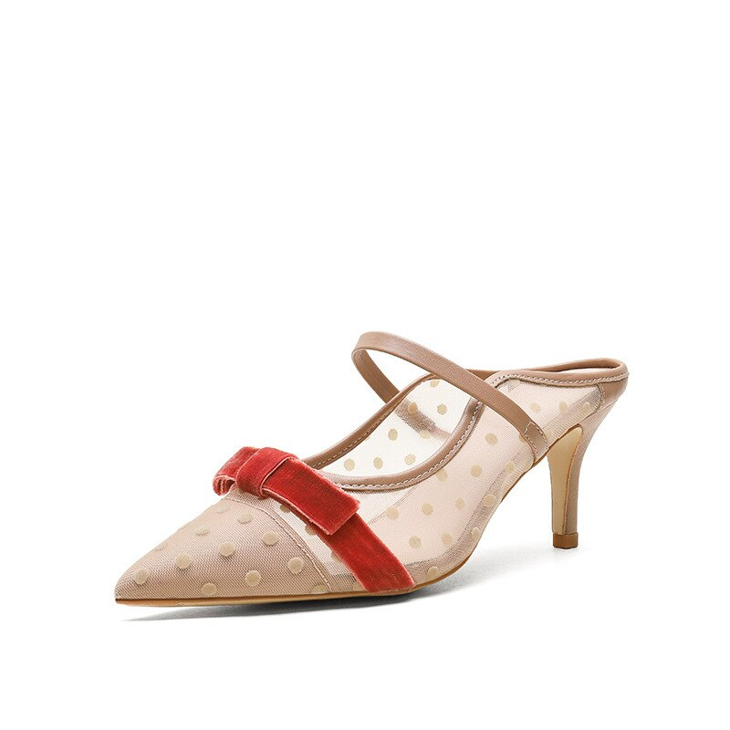Zapatos de Sandales, zapatos de tacón para mujer, zapatos de tacón de aguja con punta en pico, zapatos de fiesta de malla de aire, zapatos de boda