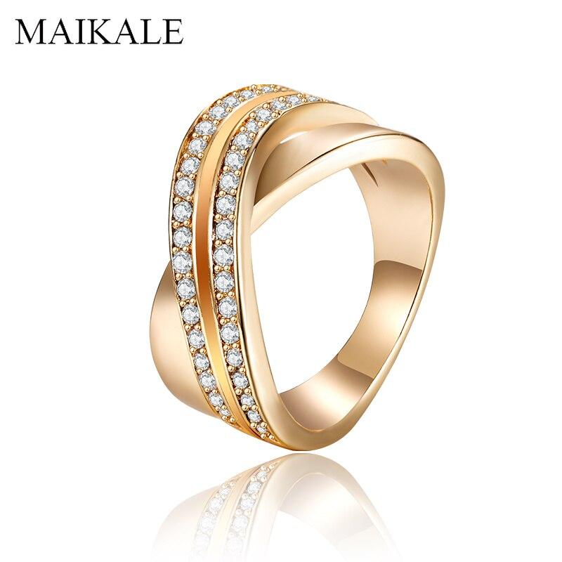 Maikale anéis de ouro do vintage pavimentado aaa zircônia grande anel de dedo anéis de banda de casamento para feminino acessório moda jóias presente