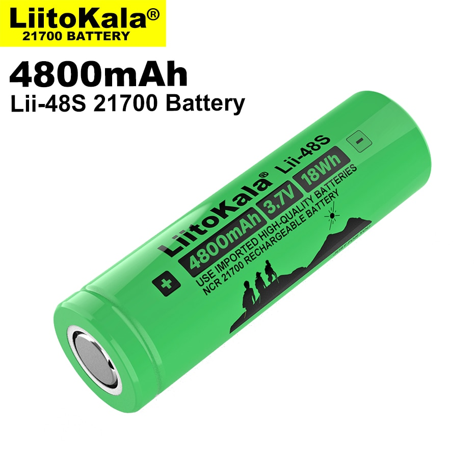 1-10PCS LiitoKala Lii-48S 3.7V 4800mAh 21700 battery 9.6A power 2C Rate Discharge ternary lithium batteries DIY Electric bicycle