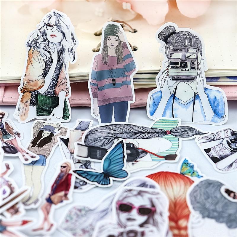 23pcs-linea-colorata-espressione-selfie-ragazze-adesivi-diario-album-di-foto-della-decorazione-di-diy-ablum-diario-scrapbooking-etichetta-adesiva