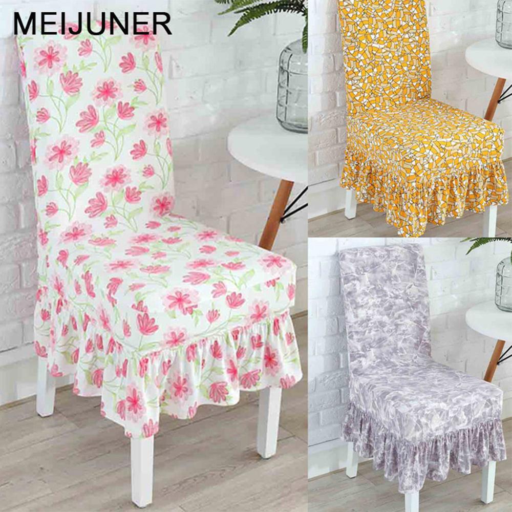 Meijuner плиссированные чехлы на стулья с цветочным принтом спандекс для свадьбы, столовой, банкета, эластичные покрывала с оборками MJ010