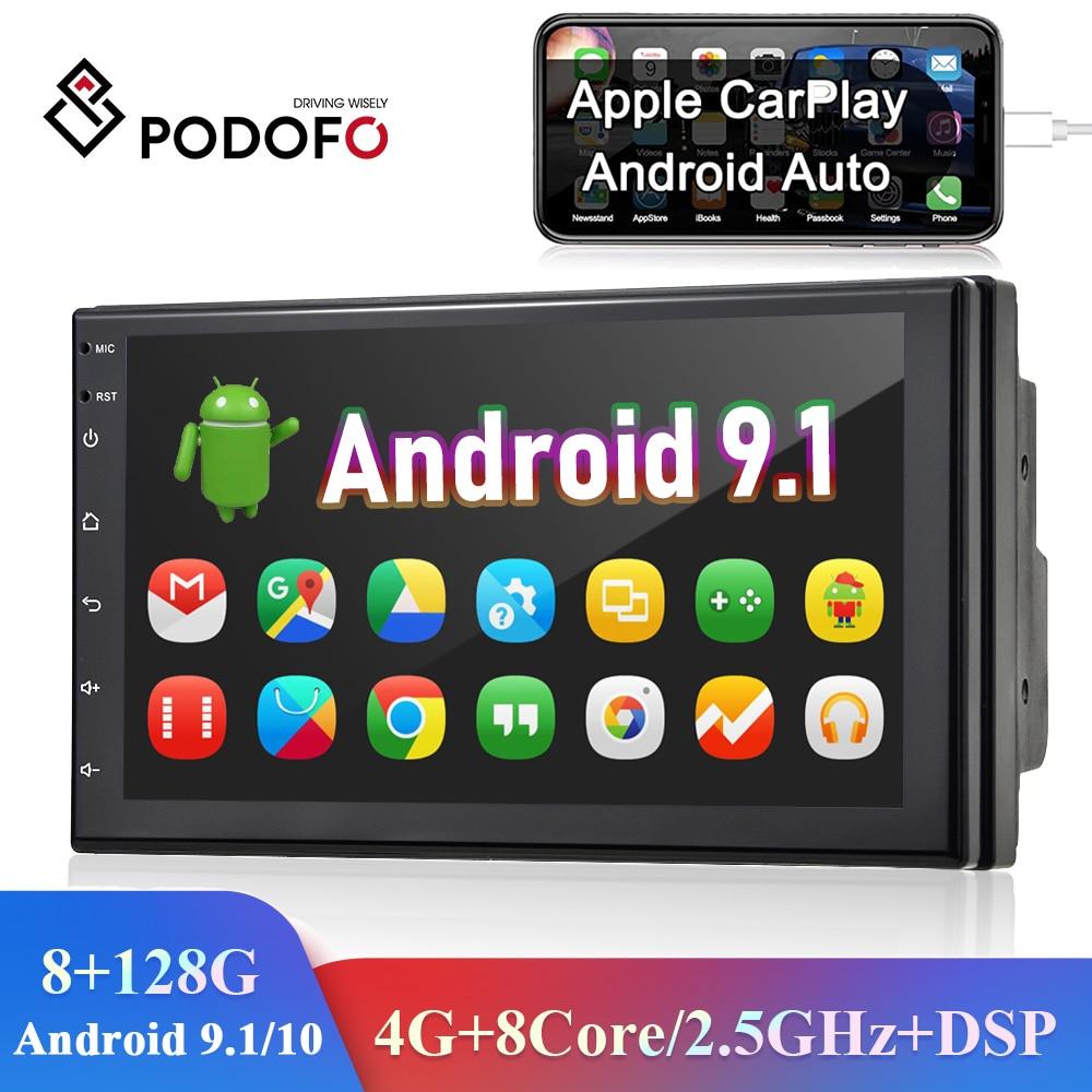Podofo 8 + 128G 2 Din автомобильное радио GPS Android 7