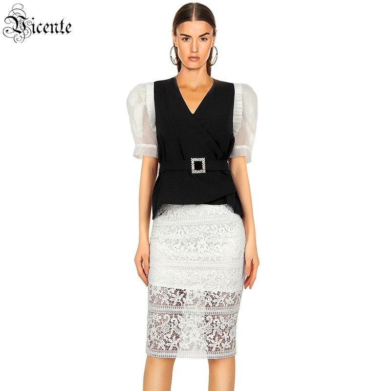 VC All-ملابس سهرة أنيقة ، دانتيل أبيض ، حزام ، تنورة ، قطعتين ، بدلة برقبة على شكل V ، مجموعة جديدة ، شحن مجاني