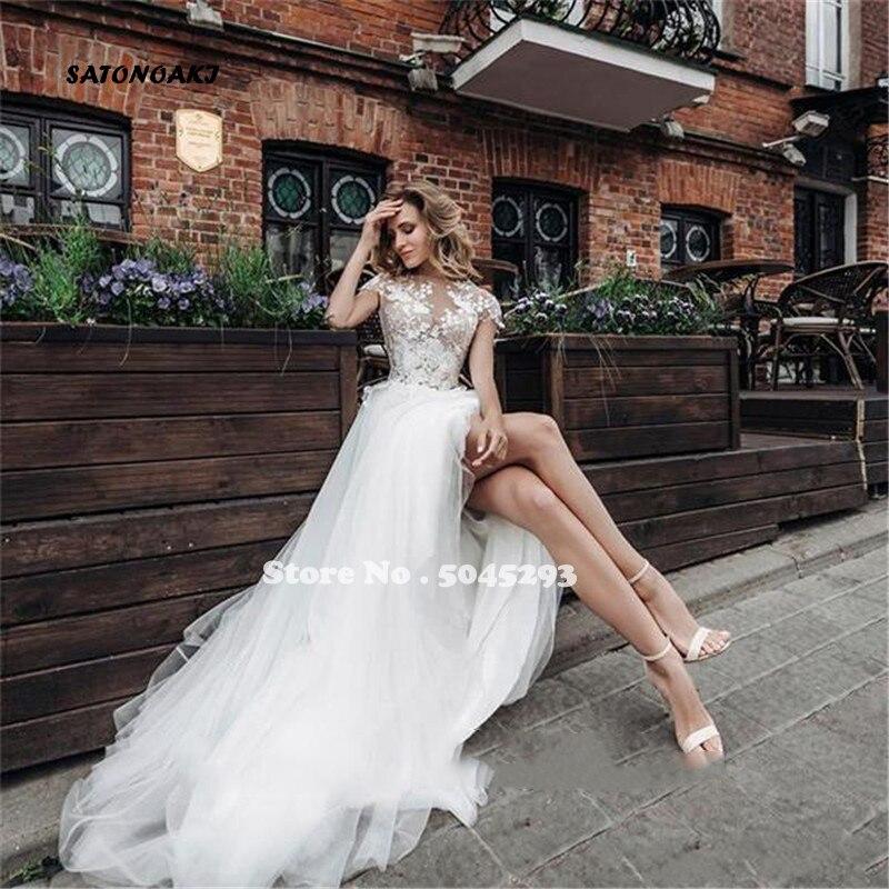 Vestido De Novia Sexy con cuello De Joya, traje De Novia bohemio con encaje, abertura alta, tienda en línea, indefinido, India, 2020