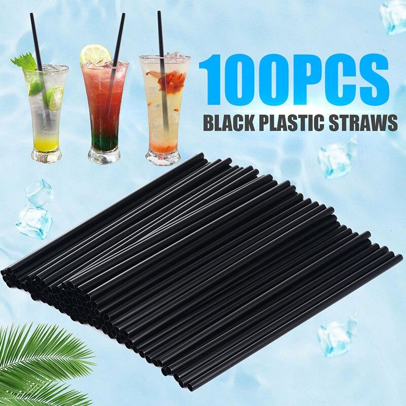100 sztuk/partia 21*0.6cm czarny koktajl słomki plastikowe słomki do picia DIY Party słomy dla domu urodziny wesele dostaw