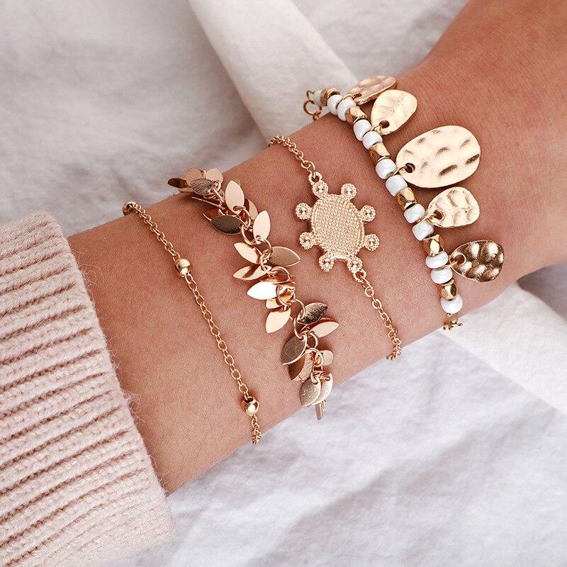 Meetvii novo vintage multi camada corrente borla charme pulseiras para mulheres bohemia moda jóias presente feminino