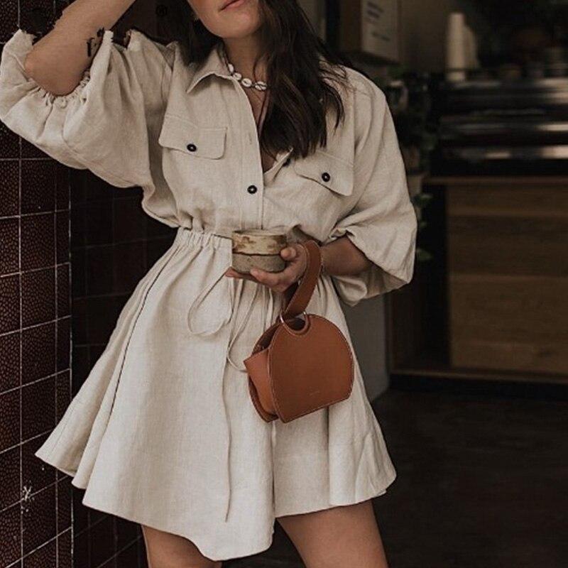 Женская обувь на каждый день с поясом мини рубашка платья с рукавами-фонариками на пуговицах с отложным воротником; Платье из льна для 2019 ви...