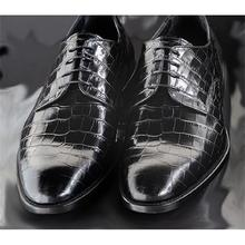 New Men Shoes High-end Black PU Classic Crocodile Pattern Wingtip Lace-up Fashion Casual Business Ge