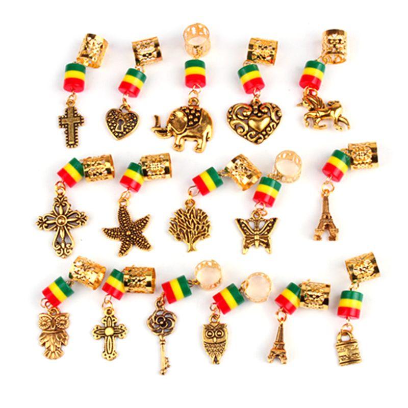 2020 nuevo 16 unids/set Metal dorado Aleación de árbol amuletos colgantes con forma de cruz rastas decoración para el pelo Kit