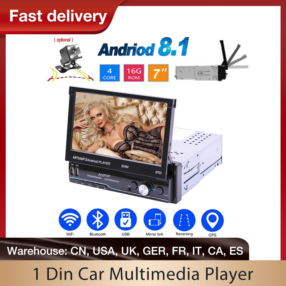 Android 1 DIN Auto Multimedia-Player 7 Zoll Touch Screen GPS Navigation Stereo MP5 Player Bluetooth USB FM Radio Mit kamera