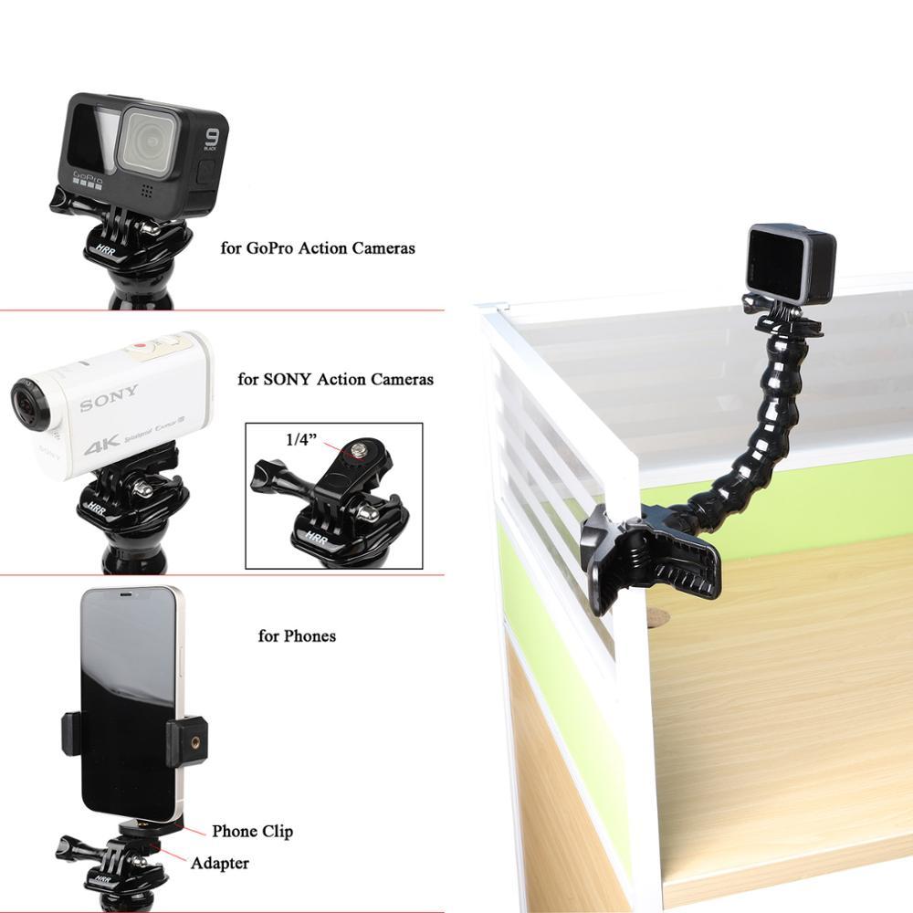 Universal Desktop Holder Mount For GoPro 9/8/7/6/5 DV Mobile Phone Bracket Insta360 One R DJI Osmo Action Camera  Adjusting Arm