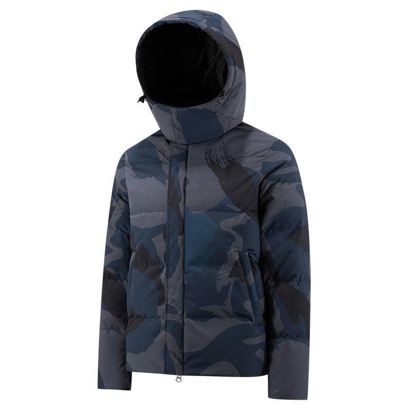 Мужской пуховик унисекс, теплая водонепроницаемая куртка с капюшоном и снудом, парка камуфляжного цвета, верхняя одежда, мужская зимняя оде...