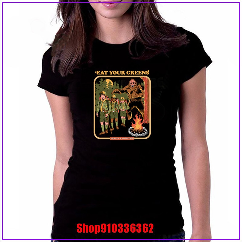 2020 última popularidad Eat Your Greens Vintage mujeres negro Camiseta 100% proveedor de algodón Cartoon manga corta mujeres camisas