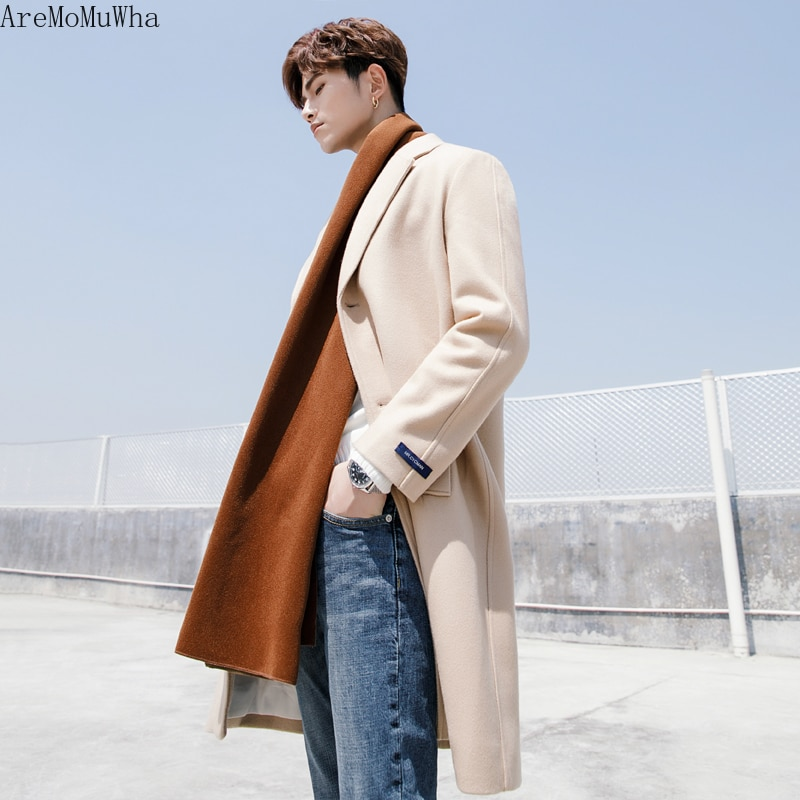 AreMoMuWha 2019 New Woolen Coat Male Korean Version of Long Section Solid Color Slim Thickening Windbreaker1241