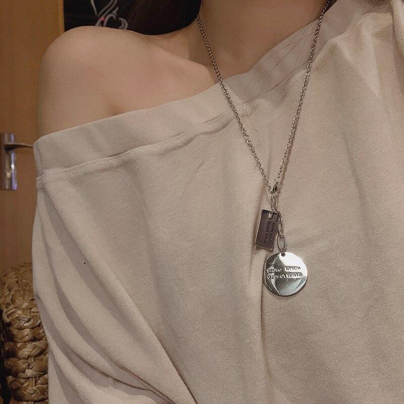 Design Simple Letter Double Pendant Titanium Steel Necklace Internet Celebrity Personalized and Temperamental Long Style